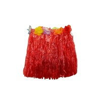 2 x 30cm Red Kids Hawaiian Tropical Hula Grass Skirts with Flowers Theming