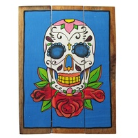 Blue Sugar Skull 40x31cm Wooden Hanging Sign Beach Theme