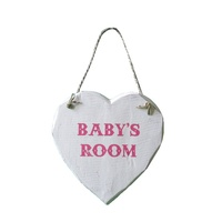 Baby's Girls Room Heart 16cm Wooden  White Wash Finish Wall / Door Hanging