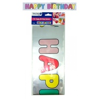 Happy Birthday Banner - 2.5mx13cm. Metallic Silver Background & Coloured Letters