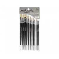 Mont Marte Silver Series Artist Brushes 12pce Flat 1-12