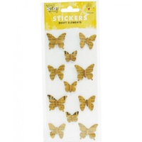 Mont Marte Scrapbooking Stickers - Beaded Butterflies Vintage 11pce For Scrapbook Craft