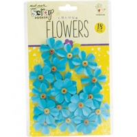 Mont Marte Scrapbooking Flowers - Beaded Fancy Blue 18pce For Scrapbook Craft