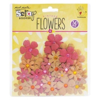 Mont Marte Scrapbooking Flowers - Tye Dye Gypsies Rustic Blush 50pce For Scrapbook Craft