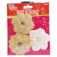 Mont Marte Scrapbooking Bits & Bobs - Dahlia Natural and Cream 3pce For Scrapbook Craft