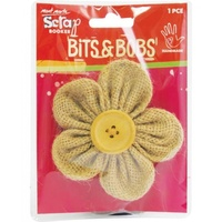 Mont Marte Scrapbooking Bits & Bobs - Burlap Folded Flower 1pce For Scrapbook Craft