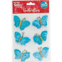 Mont Marte Scrapbooking Butterflies - Beaded Blue 6pce For Scrapbook Craft