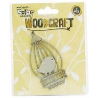 Mont Marte Scraping Woodcraft - Chipboard Bird Cage w/Bird 1pce For Scrapbook Craft