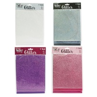 Mont Marte Scrapbooking Glitter Sheets 6pce Assorted Colours