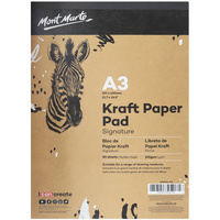 1pce Mont Marte Signature Kraft Recycled Paper Pad A3 & A4 50 Sheet 115gsm