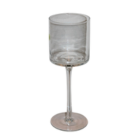 1pce 9x25cm High Steamed Modern Glass Candle Holder, Great for all Candle Sizes
