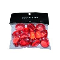 2 x 100g Packs Red Olive Shaped Deco Beads 30mm x 25mm Acrylic GMB046RE