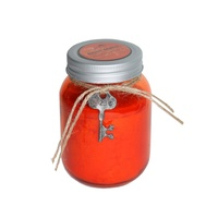 Mason Style Jar Scented Candle w/ Key Motif Vintage Style 40 Hours Burning - Red (Rose)