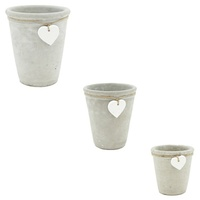 1pce Cement Pot with Heart Pendant for Home & Garden Plants Display