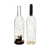 29cm Fairy Light Glass Bottle w/Reindeer Silhouette, LED Wire, Battery Operated