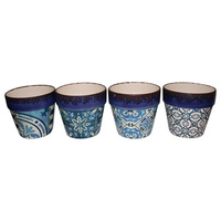 New 1pce Indego Style Prints  Ceramic Flower Pot Traditional 15.5x16.5cm-Lge