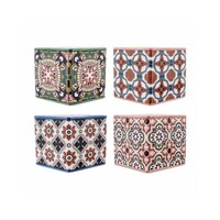 Flower Ceramic Pot Turkish Tile Design 13.5x12.5cm Succulent Garden Décor 4 Asstd