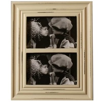 23x28cm Antique White 2 Picture,  Dule Photo Frame for - 4x6 photo prints Shabby
