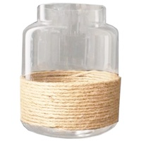 Medium 22x17cm Glass Candle Lantern with Roap Trim Beach Theme