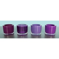 Set of 4 Round Glass Tea Light Holders in Purples Coloured Glass,  CA2269