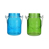 10X15Cm Set Of 2 Hanging Mason Jar Style Candles Holders Aqua and Green For Tealight Candles
