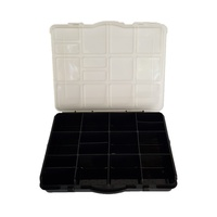 1pce Black 16x12x3cm 15 Section Craft Storage Container with Open/Close Lid Organiser
