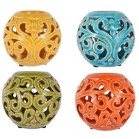 1pce 10cm Ceramic Ball Candle Holder, Rustic Colours, Lantern