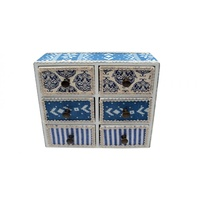 1pce 18x6x7cm 6 Draw Storage with Blue Fabric