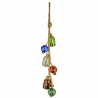 1 x 53cm Tier of 6 Hanging Multi-Coloured Glass Buoy and Bottles, with Twine