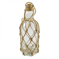 26cm Glass Bottle with Rope Mesh Décor, Hang by Rope