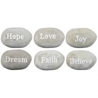 1pce 12cm Cement Inspirational Stone / Pebble, Feel Good, Paperweight, Garden 400g