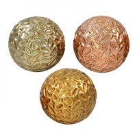 3pce Assorted Colours 10cm Metallic Ceramic Deco Ball with Beauiful Fine Leaf Inspired Design - OD3173