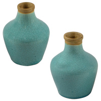 1pce Sky Blue Taper Vase with Crackle Detail Decor