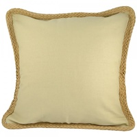 45cm Canvas Look Cushion with Rope Trim, Home Deco