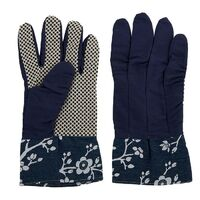 1pce Set of Blossy 24cm Cotton Gardening Gloves Blue Cute Blossom Design