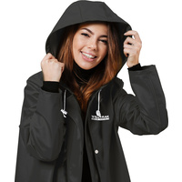 New 1pce Raincoat Premium Adult Black Water Proof Plastic Hood Dry Large Female