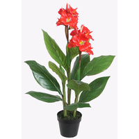 New 1pce 90cm Canna Lily Artificial Plant Pot Greenery Style Realistic Flower