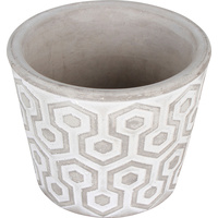 New 1pce Concrete Pot Tapered 11X11X9CM Round Geometric Design Plant Vase Flower