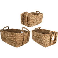 New 3pce Bribie Seagrass Rectangle Basket W/Handle Woven Storage Boho Décor