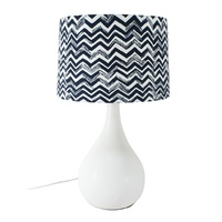 50cm Ceramic Table Lamp with Blue Chevron Style Linen Shade
