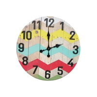61cm Wooden Chevron Retro Style Wall Clock with Pop of Colour