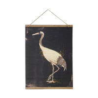 1pce 83x60cm Single Stork Artwork Print Rolled Up Hanging Wall Art with Wooden Frame