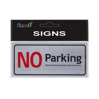 No Parking Brushed Steel Sign Black / Red / Silver 20x9cm S003