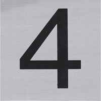 HOUSE NUMBER 4 10x10cm, Brush Stainless Steel Look, Self Adhesive - S011