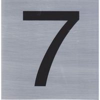 HOUSE NUMBER 7 10x10cm, Brush Stainless Steel Look, Self Adhesive - S014