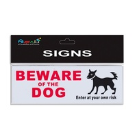 Beware of the Dog Sign Plastic White / Black / Red 20x7cm S020