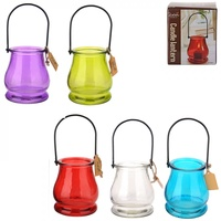 1pce Bell Shaped Glass with Metal Hanger Tealight Holder in Bright Colours 9cm