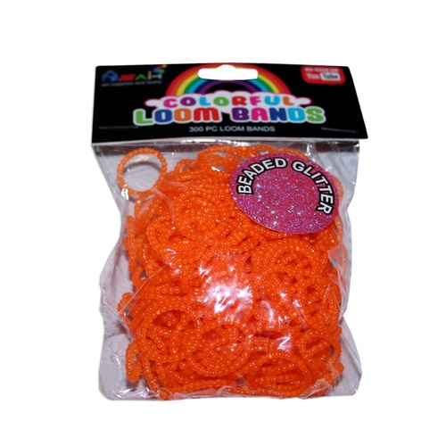 Orange Colour Beaded Glitter Loom Bands 300pce + 16 S Clips