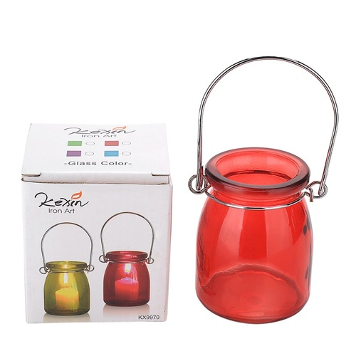 1pce Glass with Metal Hanger Tealight Holder in Bright Colours Party Theming 8.5x6.5cm - Red