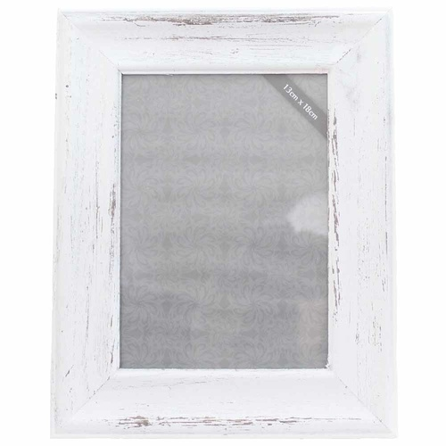 "25x20cm Wooden Beach White Wash Photo Frame for 5x7"" Prints Vintage Style"